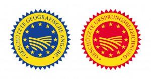 """EU-Herkunftszeichen """"g.g.A."""" und """"g.U."""""""