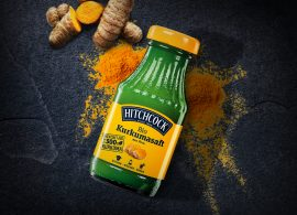 Der neue Bio-Kurkumasaft der Marke HITCHCOCK überzeugte Experten und holte bei der DLG Prämierung Gold (Foto: © HITCHCOCK)
