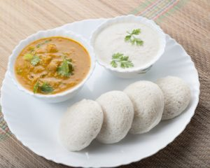 south Indian food idly with sambar and chutney