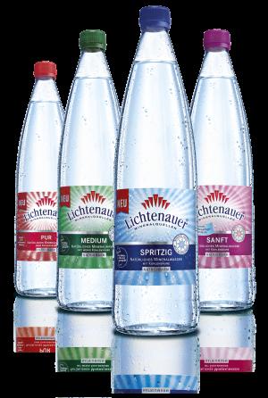 Die vier Mineralwässer der Lichtenauer Mineralquellen in der edlen Glasflasche – für den stilvollen Genuss.