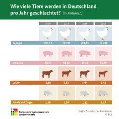 Wie viele Tiere werden in Deutschland pro Jahr geschlachtet?