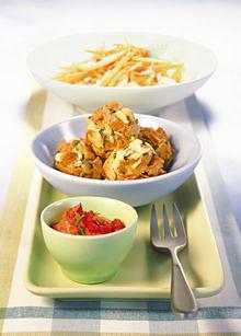 Knusper-Fischbällchen mit Tomaten-Dipp