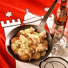 Pannfisch mit Kabeljau, Senfsauce und Bratkartoffeln