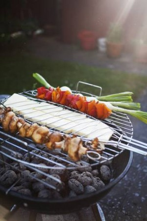 Fresh vegetable skewers on barbecue grill